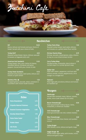 Cafe Sandwich Menu
