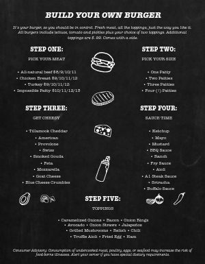 Black and White Burger Menu