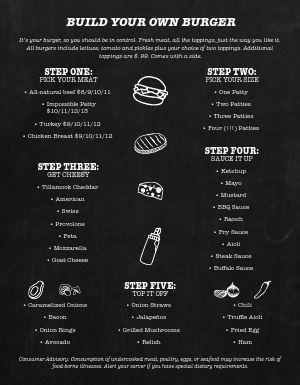 Black and White Burger Menu