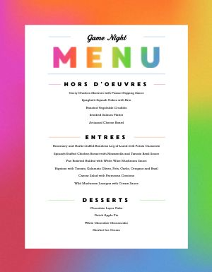 Colorful Game Night Menu