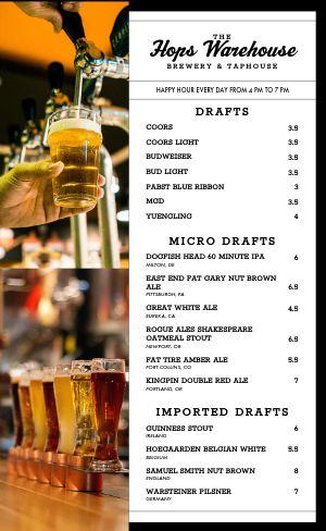Brewery Beer Menu
