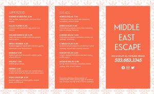 Example Middle Eastern Takeout Menu