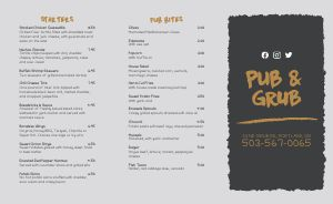 Pub Burger Takeout Menu