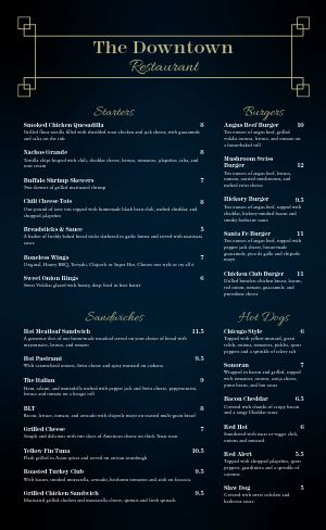 Elegant Happy Hour Pub Menu