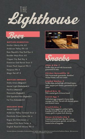 Granite Pub Menu