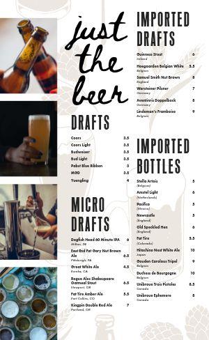 Bottle Beer Menu