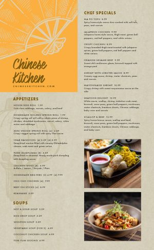 Chinese Fan Menu