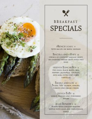 Upscale Breakfast Specials Menu