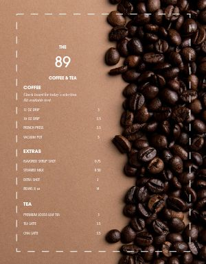 Bold and Brown Coffee Menu