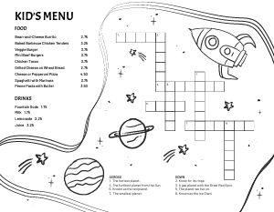 Crossword Puzzle Kids Menu