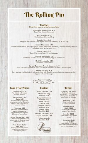 Rolling Pin Bakery Menu
