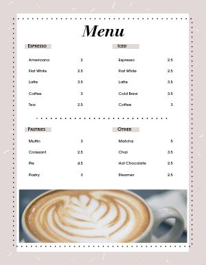 Latte Coffee Menu