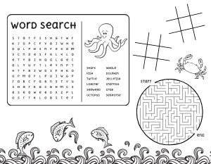Ocean Word Search Kids Menu