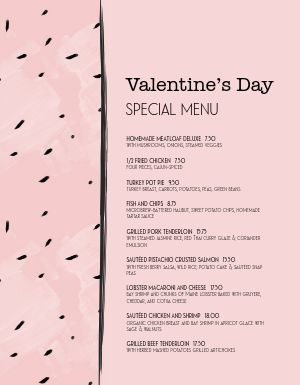 Artsy Valentines Day Specials Menu