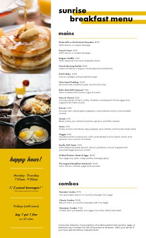 Early Morning Breakfast Menu