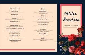 Dine In French Folded Menu