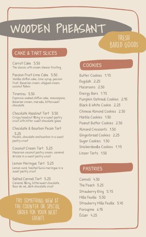 Baked Goods Bakery Menu