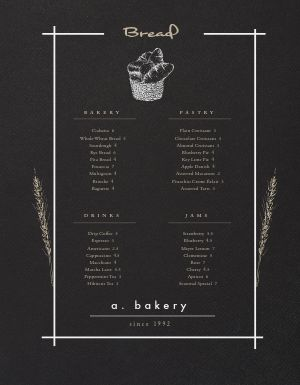 Modern Bakery Menu