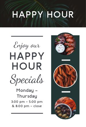 Happy Hour Specials Table Tent