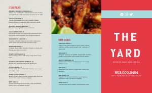 Example Sports Bar Takeout Menu