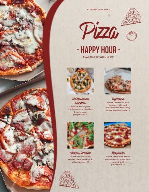 Happy Hour Pizza Menu