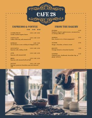 Elegant Coffee Menu
