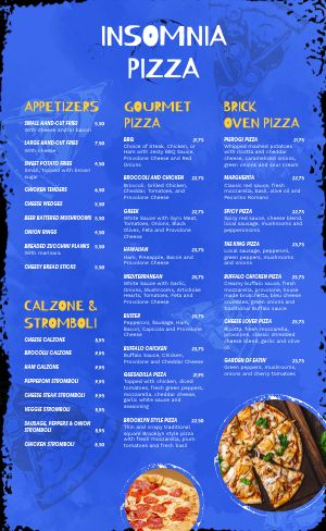Blue Pizza Menu