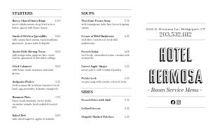 Example Hotel Takeout Menu