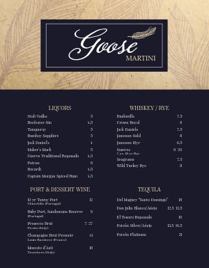 Common Bar Menu