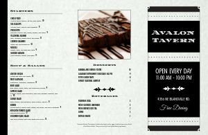 Fine Dining Tavern Folded Menu