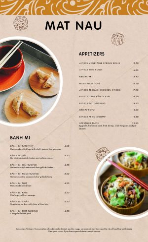 Casual Vietnamese Menu