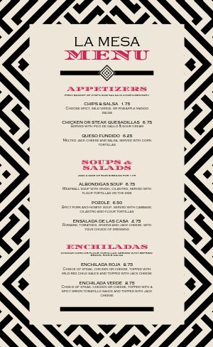 Simple Mexican Menu Example
