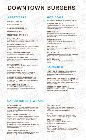 Downtown Burger Menu