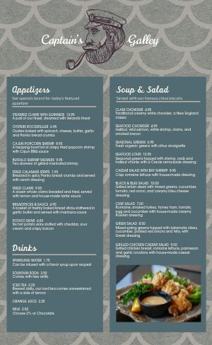Sample Seafood Menu