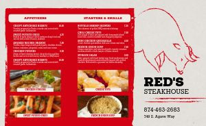Red Steakhouse Takeout Menu