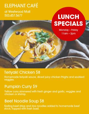 Lunch Food Specials Flyer