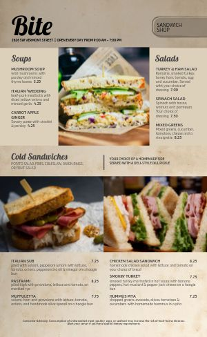 Sandwich Shop Deli Menu