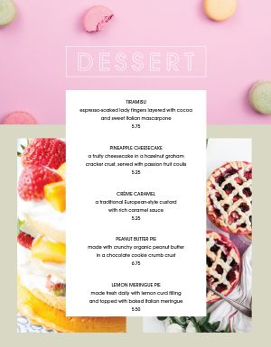 Colorful Dessert Specials Menu
