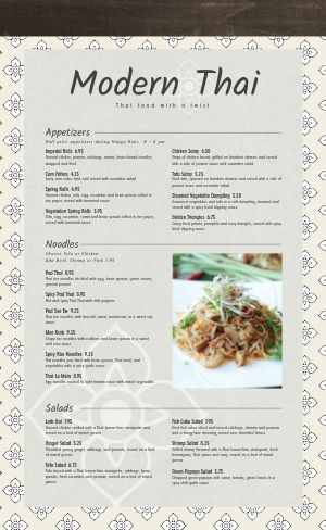 Sample Thai Menu