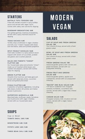 Woodgrain Vegan Menu