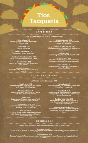 Woodgrain Mexican Menu