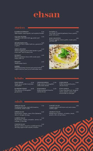 Blue Middle Eastern Menu