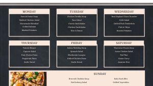 Gourmet Dining Hall Digital Menu Board