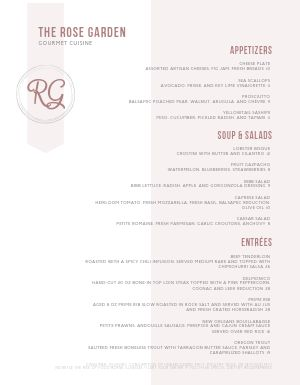 Rosey Fine Dining Menu