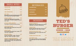 Diner Bar Burger Takeout Menu