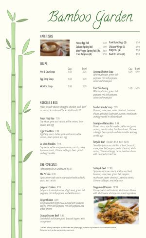 Chinese Bamboo Menu