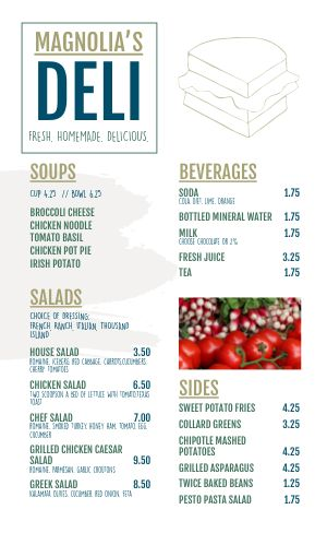 Sandwich Deli Menu