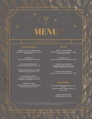 New Years Lounge Menu