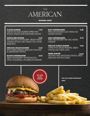 Burger Special American Menu
