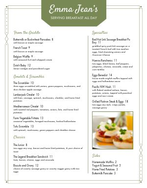 Olive Breakfast Menu